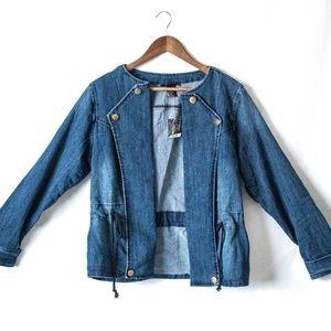 Ashley Stewart Dark Rinsed Jean Jacket Size 12